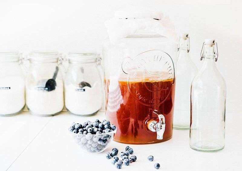 Kombucha in jar with blueberries