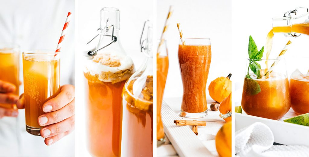 Collage of kombucha flavors