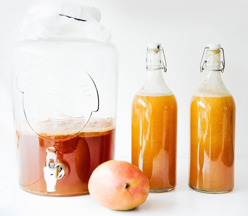 homemade kombucha with mangos in glass containers
