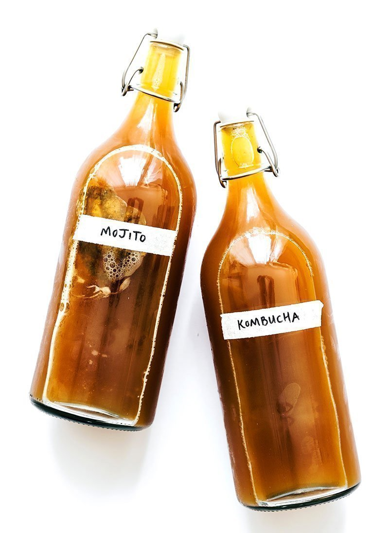 mojito kombucha in fermentation bottles