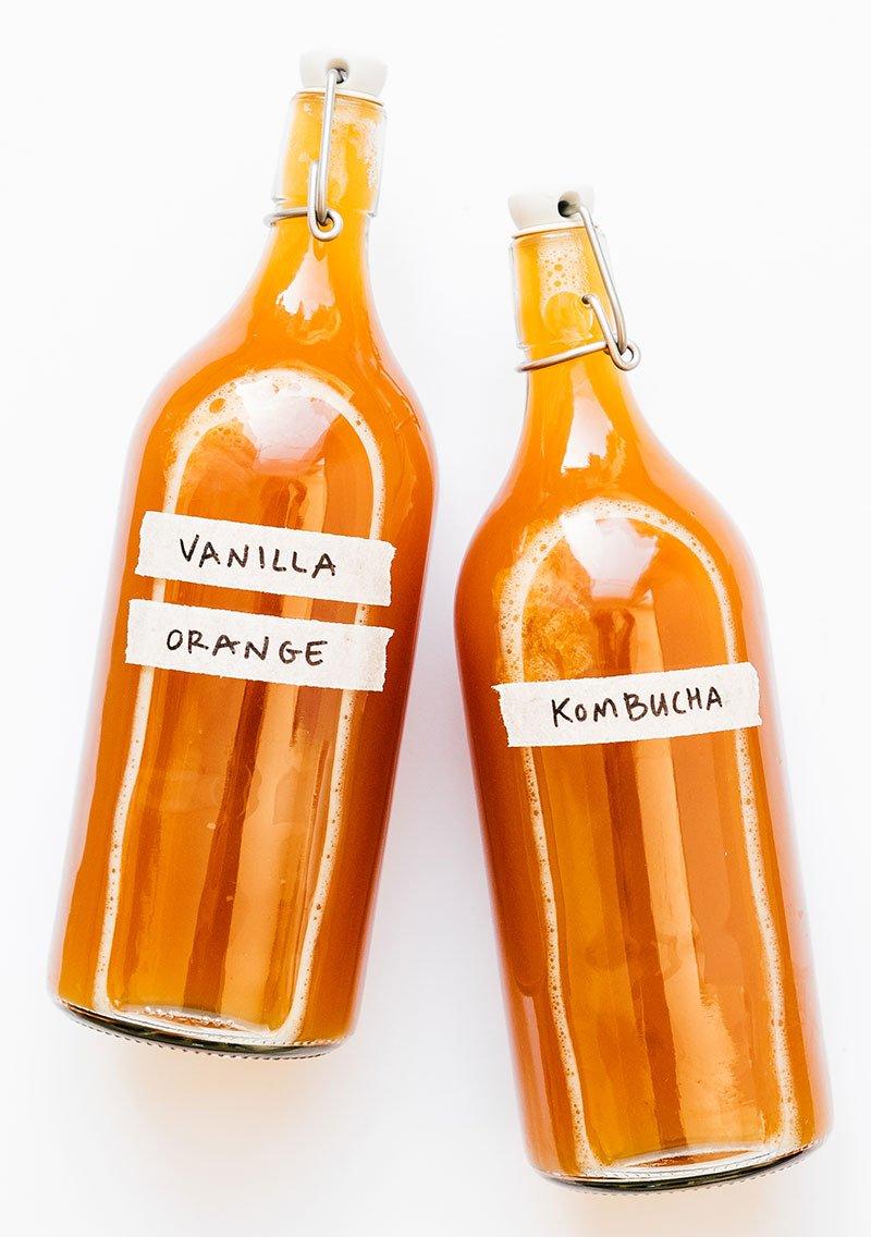 Vanilla orange kombucha in a bottle