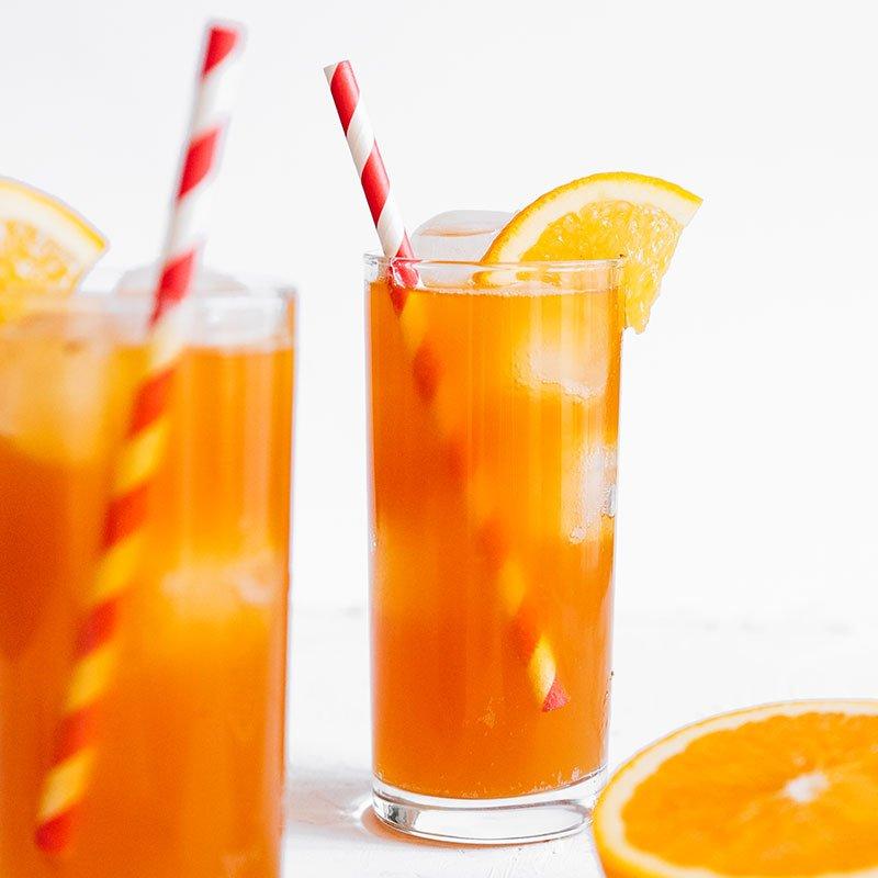 Vanilla orange kombucha in a glass