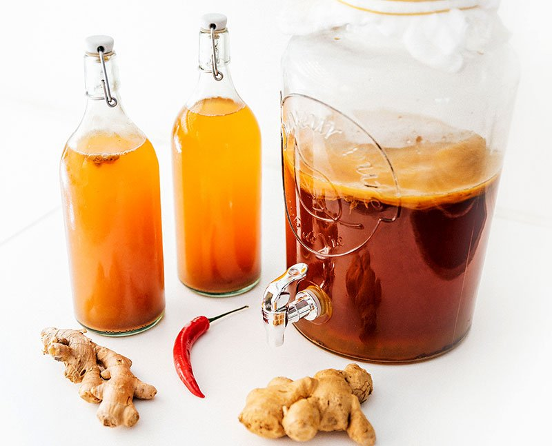 ingredients to make spicy ginger kombucha