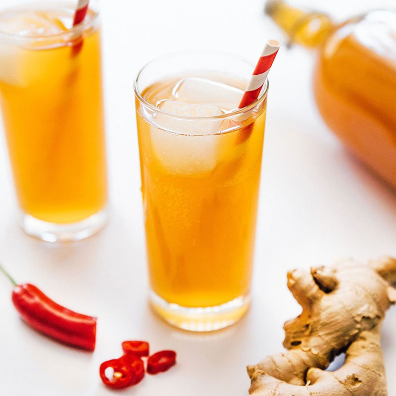 Spicy Ginger Kombucha in a glass