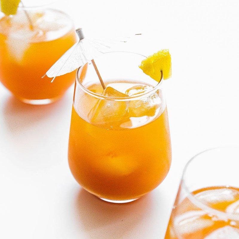 pineapple basil kombucha in a glass