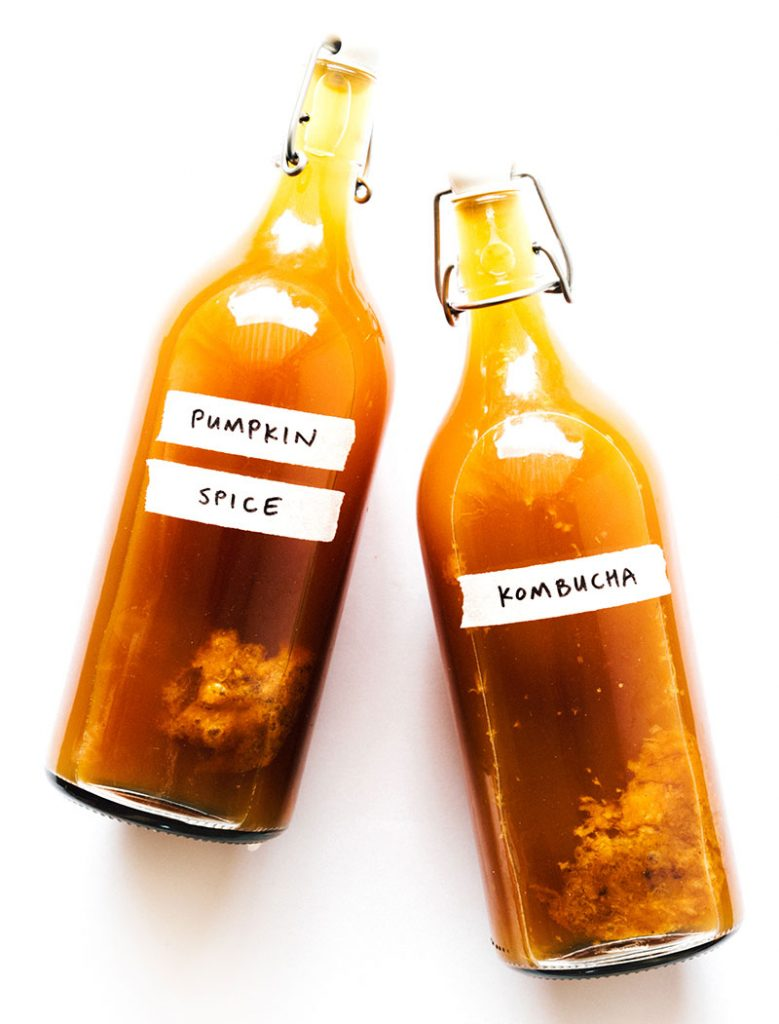 pumpkin kombucha in fermentation bottles