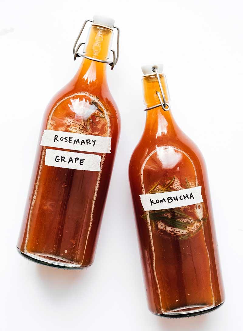 Rosemary grape kombucha in a bottle