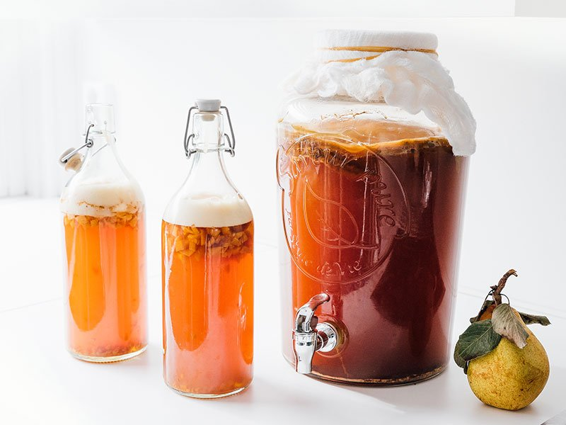 Pear kombucha in bottles with white background