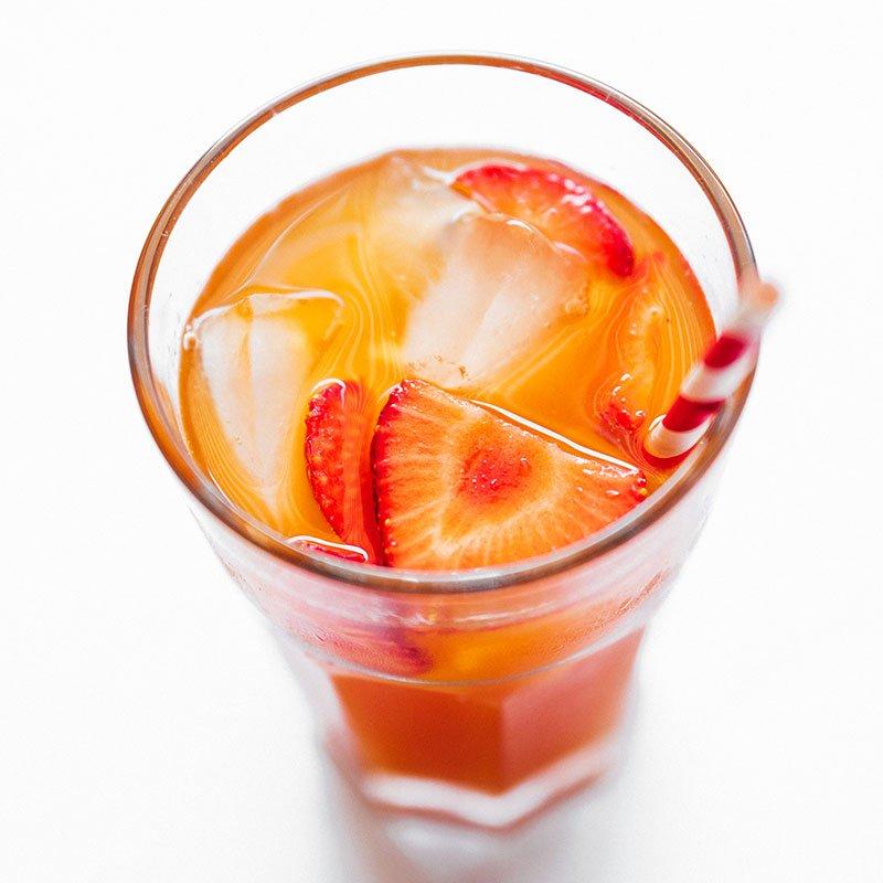 strawberry kombucha in glass