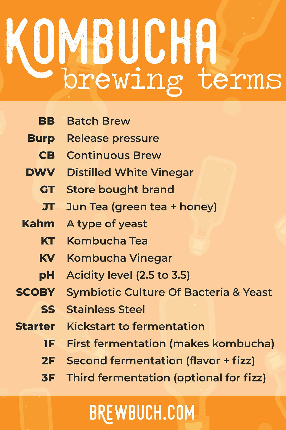 Photo with common kombucha terms and acronyms