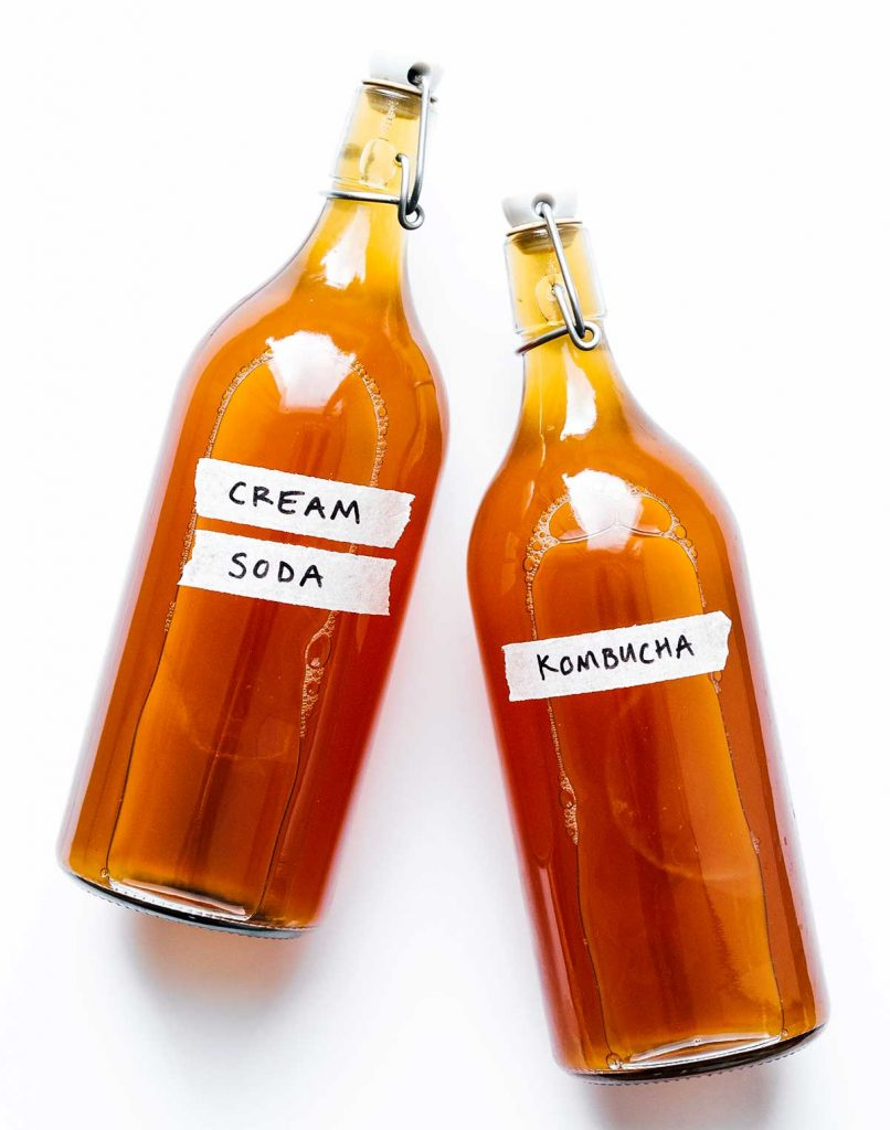 Cream soda kombucha in fermentation bottles