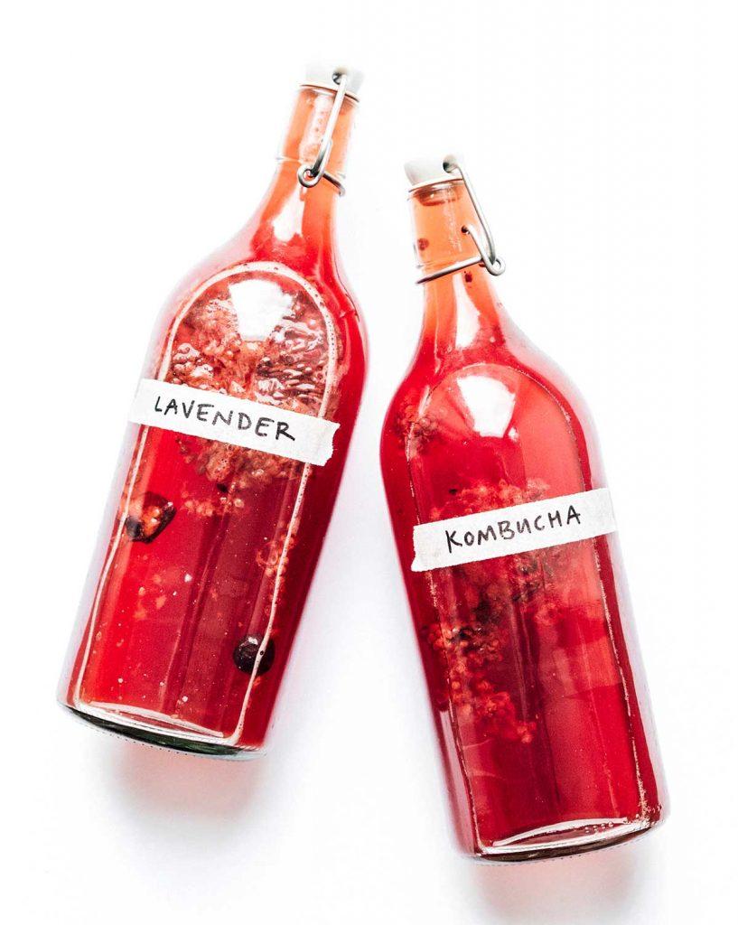 Bottles of lavender kombucha on a white background