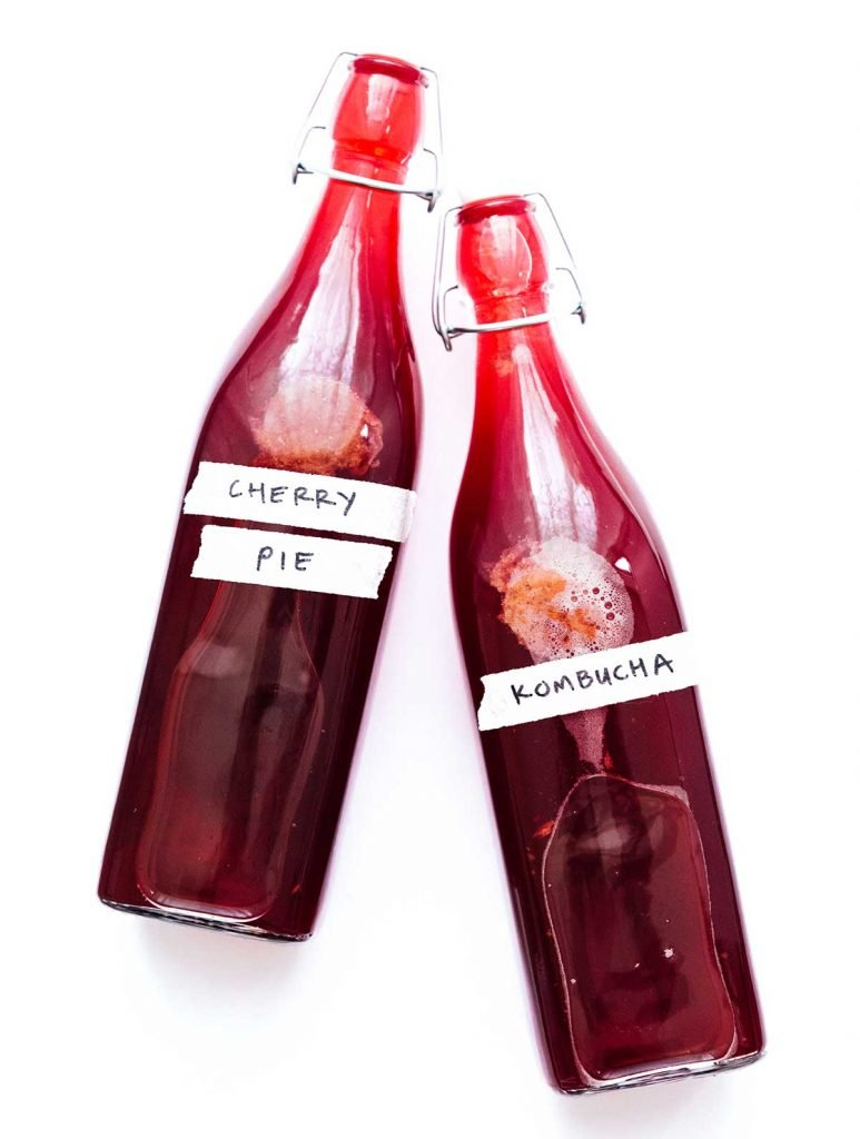 Cherry pie kombucha in fermentation bottles