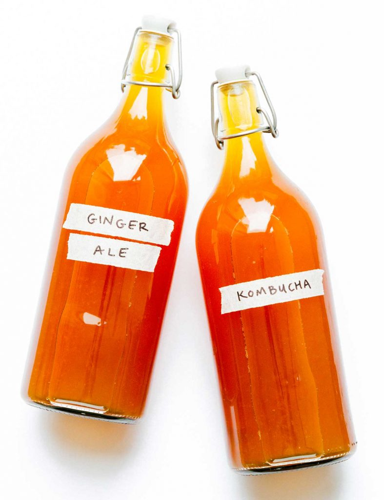Ginger kombucha in fermentation bottles on a white counter