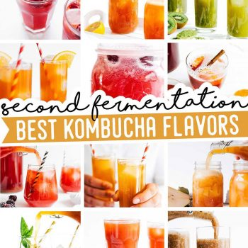 Collage of best kombucha flavors
