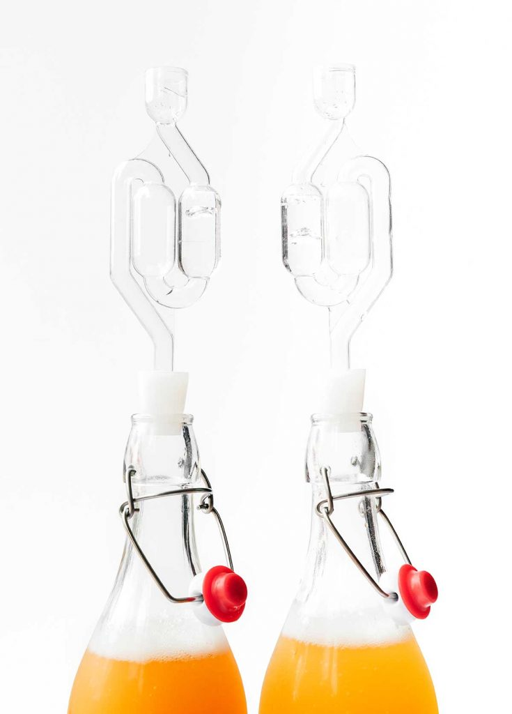 How air locks for in kombucha fermentation on white background